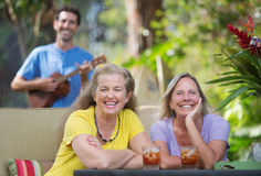 Laughing Women In Hawaii Royalty Free Stock Photo
