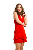 Laughing women in red dress Royalty Free Stock Photography