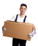 Laughing worker with a box in his hands Royalty Free Stock Photos