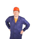 Laughing worker in red hard hat. Stock Photography