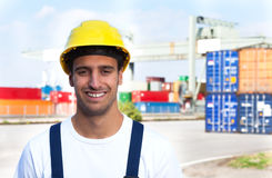 Laughing worker on a seaport Royalty Free Stock Photography