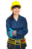 Laughing  worker woman looking up Royalty Free Stock Photos