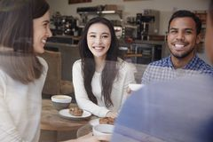 Laughing young adult friends having coffee at a coffee shop royalty free stock image