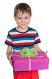 Laughing young boy holds a gift box Stock Image