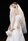 Laughing young bride in wedding dress and veil. Studio shot of laughing young bride in wedding dress and veil royalty free stock photo