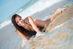 Laughing young brunette Royalty Free Stock Photo