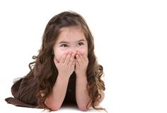 Laughing Young Child Looking Up Stock Image