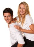 Laughing young couple having fun and joy. Royalty Free Stock Images