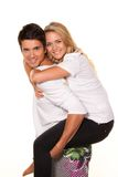Laughing young couple having fun and joy. Royalty Free Stock Photos
