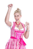 Laughing young girl at the Oktoberfest in Munich - Isolated on w Royalty Free Stock Images