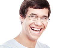 Laughing young man headshot Stock Photo