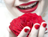 Laughing young woman. Mouth with red lips stock image