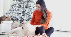 Laughing young woman with her dog at Christmas Royalty Free Stock Photography