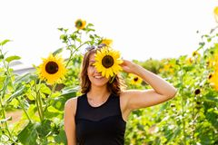 Laughing young woman holds a sunflower in front of her eyes stock images