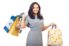 Laughing young woman at shopping Royalty Free Stock Photography