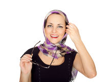 Laughing young woman in a stylish scarf in a cage Stock Image