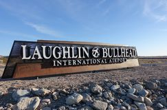 Laughlin, Nevada and Bullhead City, Arizona International airport. Sign welcomes visitors to the Laughlin and Bullhead City International Airport Royalty Free Stock Photography