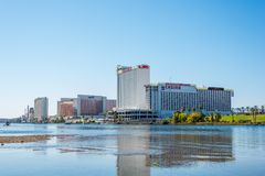 Laughlin Waterfront. The Colorado River flows past the hotels and casinos of Laughlin, Nevada royalty free stock photography