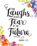 She Laughs without fear of the future. Bible scripture design art with flower accents Stock Images