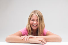 Laughter explosion little girl portrait Stock Images