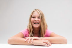 Laughter explosion little girl portrait Royalty Free Stock Photography