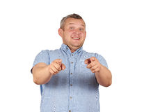 Laughter fat man. Haughty kind person. Isolated on white background Royalty Free Stock Photography