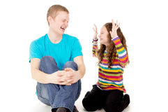 Laughter and joy to the boy and girl Stock Photo