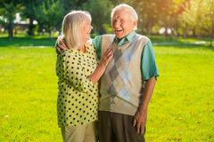 Laughter of senior couple. Man and women outdoor. Good sense of humour. Mood shapes health royalty free stock image