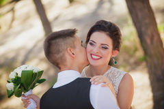 Laughter at the wedding. Bride groom stock image