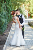 Laughter at the wedding. Bride groom Royalty Free Stock Image