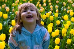 Laughting girl in tulips Royalty Free Stock Photography