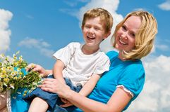 Lauging mother and son Stock Photography