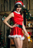 Lauging Santa Claus woman Stock Photo