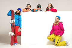Lauhging people with the winter equipment Stock Photos