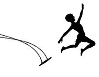 Launch. Editable  silhouette of a young boy leaping off a swing Royalty Free Stock Photography