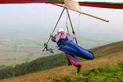 Launch. Hang glider launching from the Malvern Hills Worcestershire UK Royalty Free Stock Images