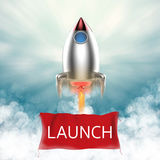 Launch banner with space shuttle Stock Photo