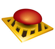 Launch button. Launch red button on yellow base Stock Photography