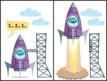 Launch. Comics about rocket taking off. No transparency and gradients used Stock Photo