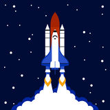 Launch concept space rocket background. Launch concept with space rocket and stars on dark background flat vector illustration stock illustration
