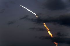 Launch of Discovery shuttle mission STS-119. March 15th 2009 launch of Discovery shuttle mission STS-119 captured at booster separation Stock Photography