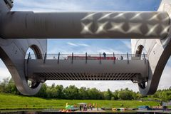Launch in Falkirk Wheel, rotating boat lift in Scotland, Royalty Free Stock Images