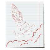 The launch of hand-drawn on notebook sheet. Rocket at the start pen on notebook sheet Royalty Free Stock Photography