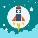 Launch icon. Rocket in space. Royalty Free Stock Images