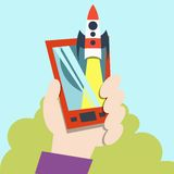 Launch icon. Rocket in space. Royalty Free Stock Photos