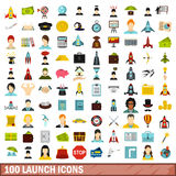 100 launch icons set, flat style Stock Photography