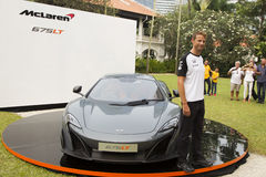 Launch of McLaren 675LT by Jenson Button Royalty Free Stock Photos
