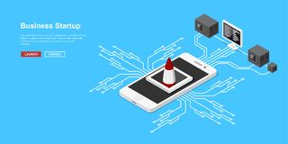 Isometric startup concept. Launch of a mobile application or a new startup. Rocket or spacecraft takeoff from mobile phone. Concept banner in isometric style for vector illustration
