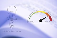 Launch new ideas light bulb with shuttle wings and fire next to speedometer. Accelerate your success conceptual illustration: launch new ideas light bulb with Stock Image