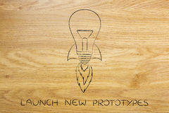 Launch new ideas: lightbulb with rocket setup Royalty Free Stock Photography